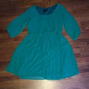 Blue Green Mid Sleeve Dress